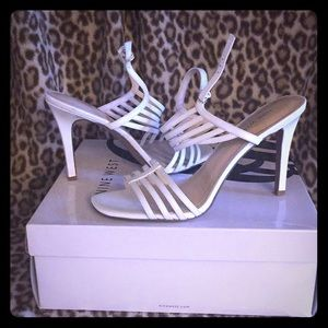 Women's White high-heeled sandals
